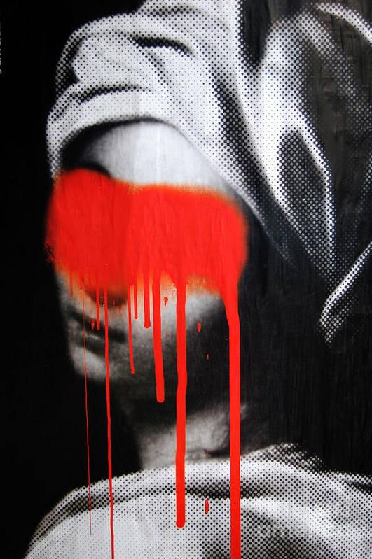 Graffiti Art Print featuring the photograph Graffiti on a Poster Krakow Poland by Wayne Higgs
