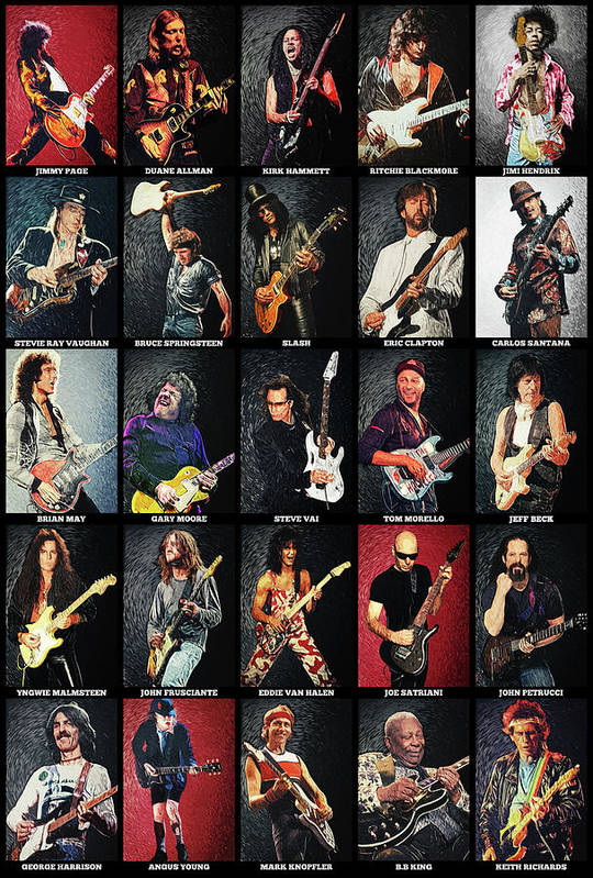 Guitar Art Print featuring the digital art Greatest Guitarists Of All Time by Zapista OU