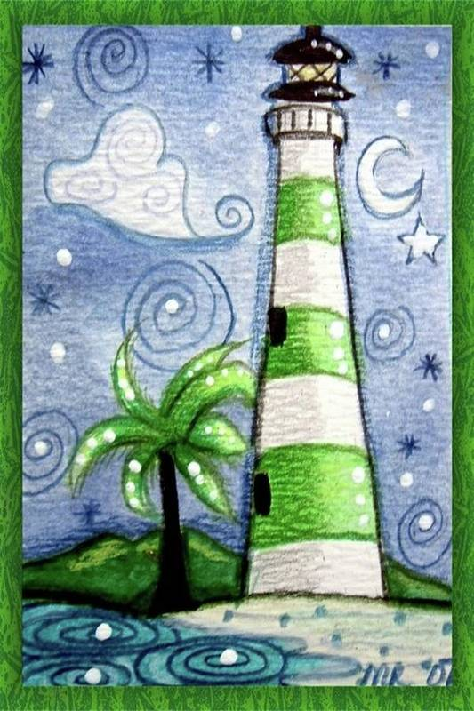 Lighthouse Art Print featuring the painting Green And White Tropical Lighthouse by Monica Resinger