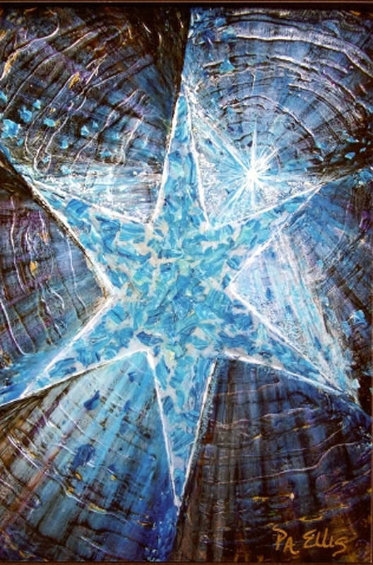 Heavy Texture Mosaic Six Point Star Multi Level Blue Art Print featuring the painting Guiding Light by Pam Ellis