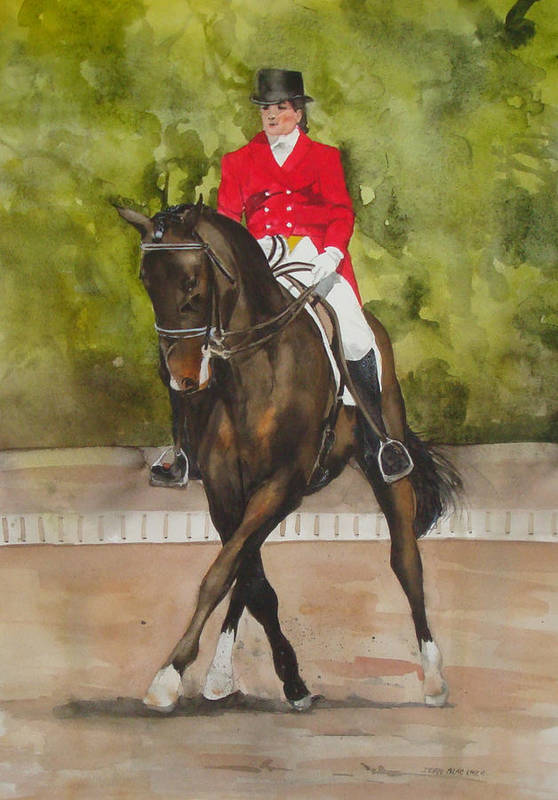 Horse Art Print featuring the painting Half-Pass To The Right by Jean Blackmer
