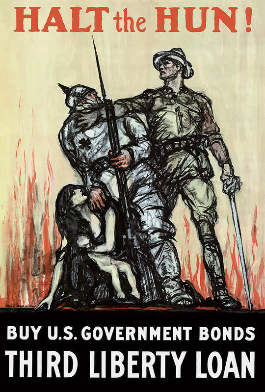 Liberty Loan Art Print featuring the painting Halt The Hun - WW1 by War Is Hell Store