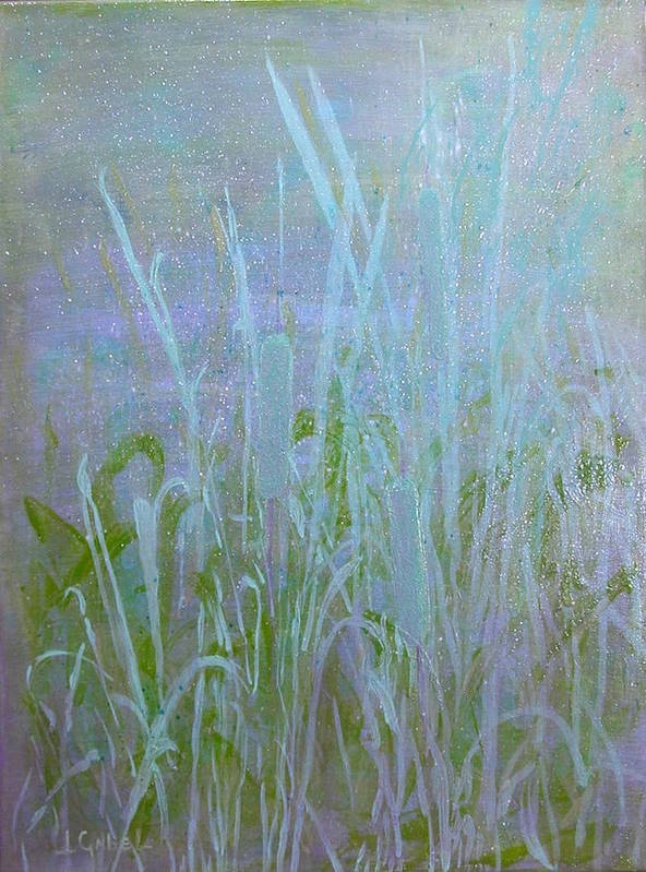 Landscape Art Print featuring the painting Heaven's Cattails #1 by Laura Gabel