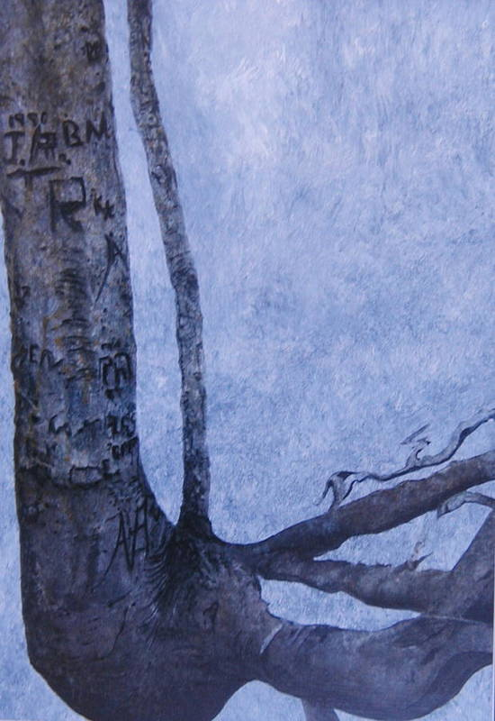 Tree Trunk Art Print featuring the painting Hedden Park II by Leah Tomaino