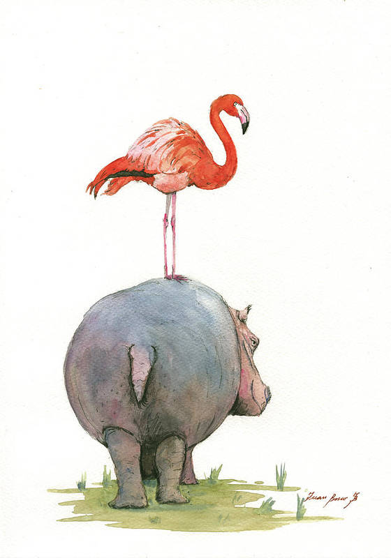 Hippo Art Art Print featuring the painting Hippo with flamingo by Juan Bosco