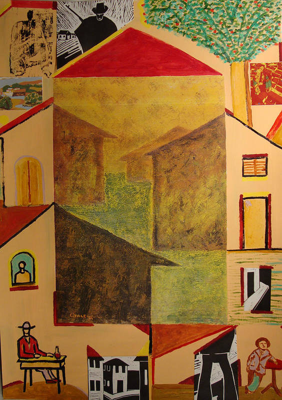 Art Print featuring the painting Houses of 1954 with hunter by Biagio Civale