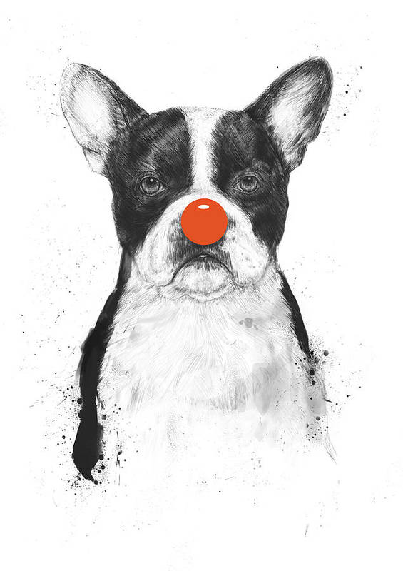 Dog Art Print featuring the mixed media I'm not your clown by Balazs Solti