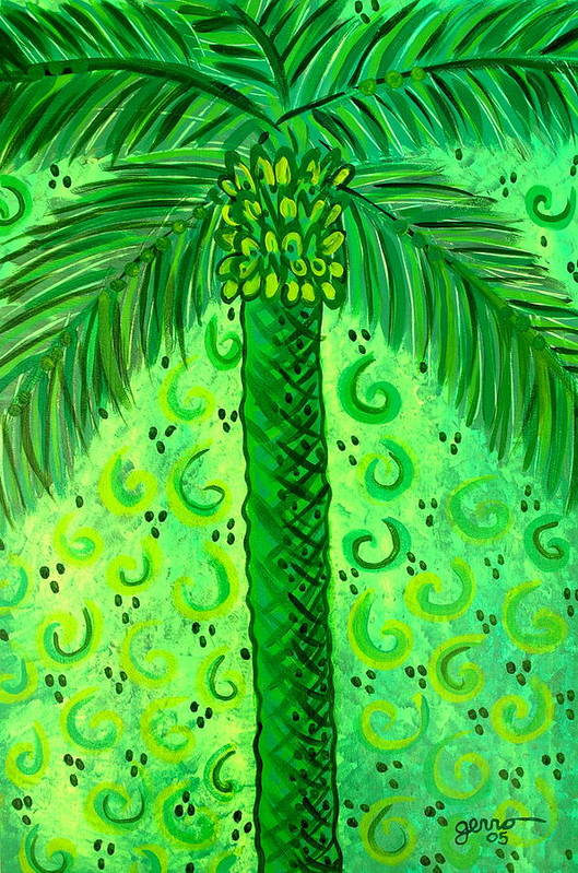 Palm Trees Art Print featuring the painting Key Lime Palm by Helen Gerro