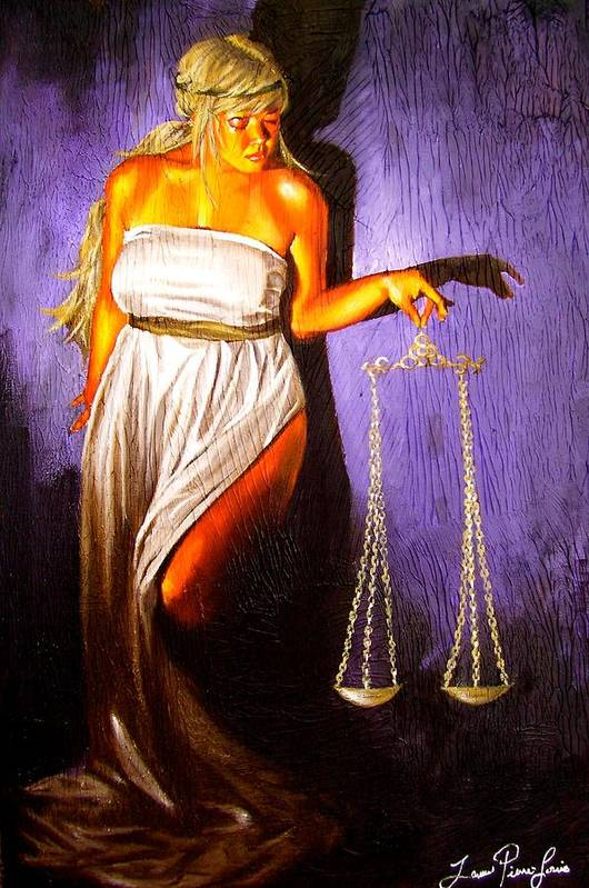 Law Art Print featuring the painting Lady Justice Long Scales by Laura Pierre-Louis
