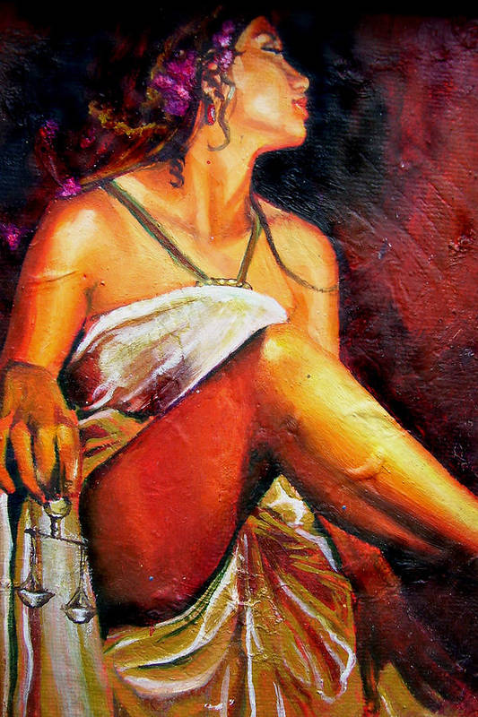 Law Art Art Print featuring the painting Lady Justice mini by Laura Pierre-Louis