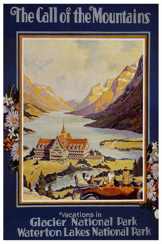 Landscape painting of a mansion by a lake shore in Glacier National Park- Vintage Travel Poster by Studio Grafiikka