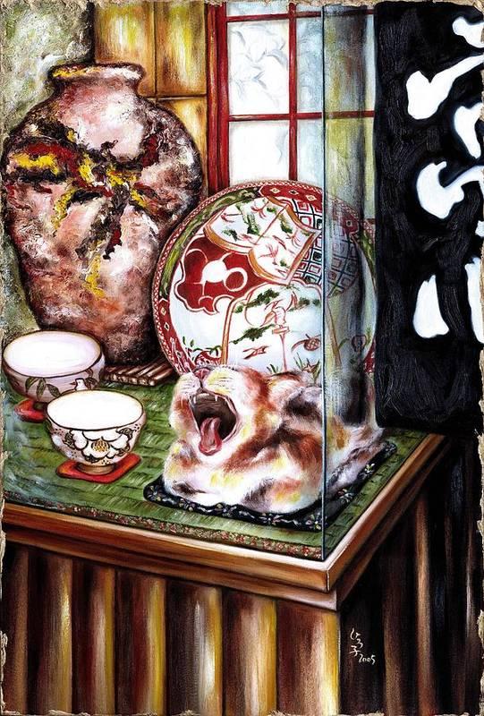 Cat Art Print featuring the painting Life is Beautiful by Hiroko Sakai