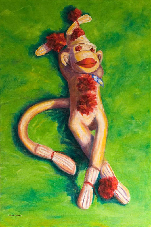 Sock Monkey Art Print featuring the painting Life Is Good by Shannon Grissom