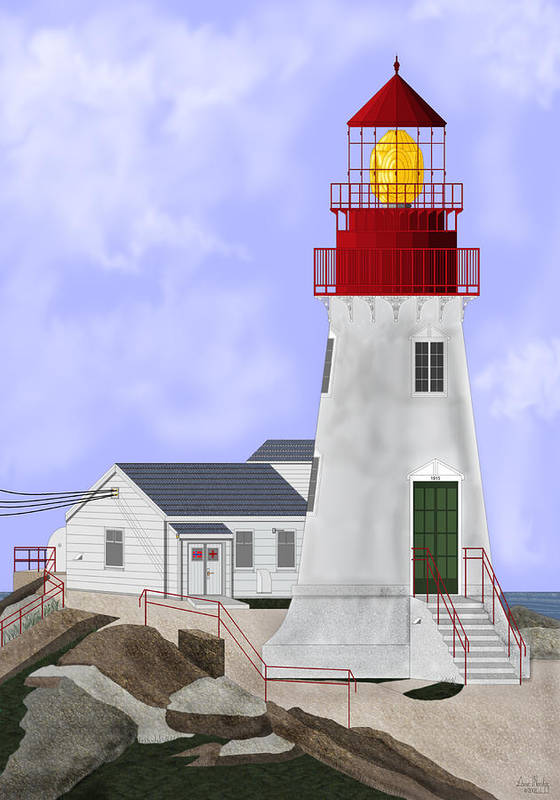 Lighthouse Art Print featuring the painting Lindesnes Norway Lighthouse by Anne Norskog