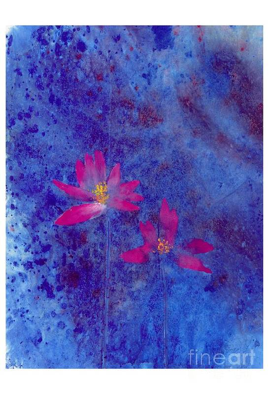Free Style Lotus Flowers In Dreamy Blue Background. This Is A Contemporary Chinese Ink And Color On Rice Paper Painting With Simple Zen Style Brush Strokes.  Art Print featuring the painting Lotus II by Mui-Joo Wee