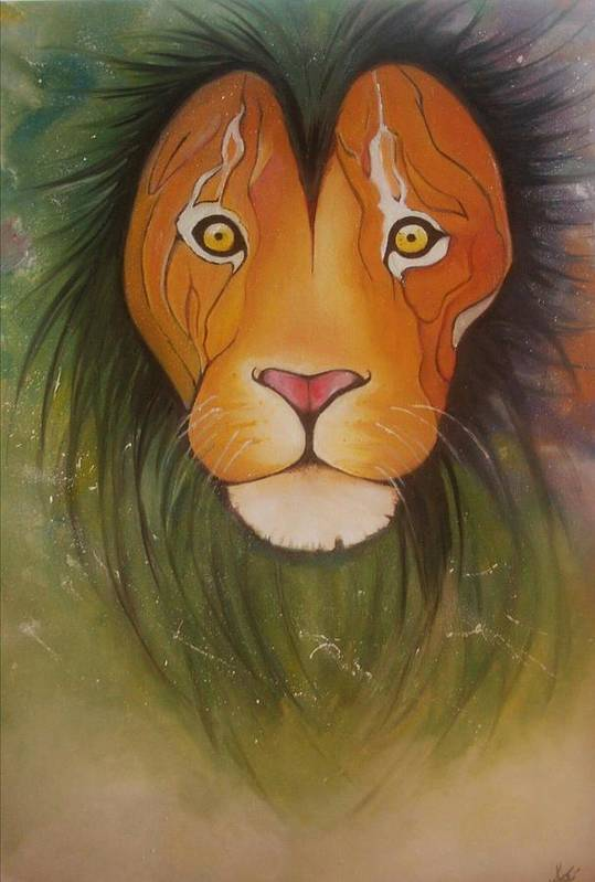 #lion #oilpainting #animal #colorful Art Print featuring the painting Lovelylion by Anne Sue