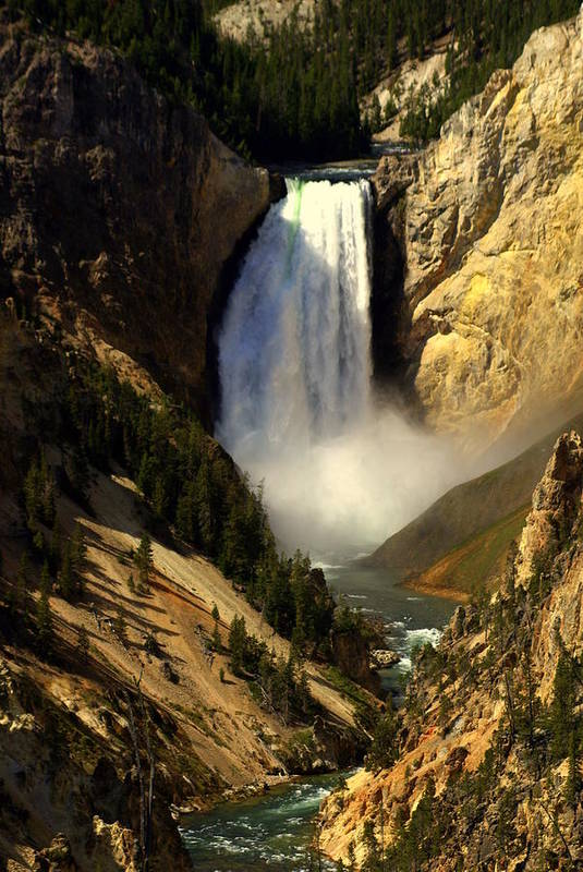 Yellowstone National Park Art Print featuring the photograph Lower Falls 2 by Marty Koch