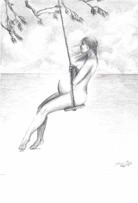 Pregnant Woman On Swing Art Print featuring the drawing Lullaby by Julianna Ziegler