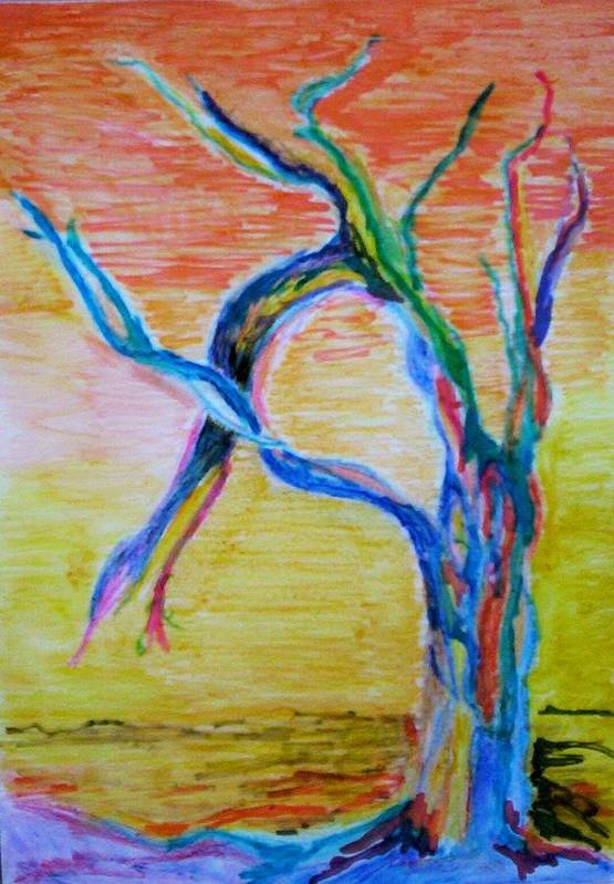 Abstract Painting Art Print featuring the painting Magical Tree by Suzanne Udell Levinger