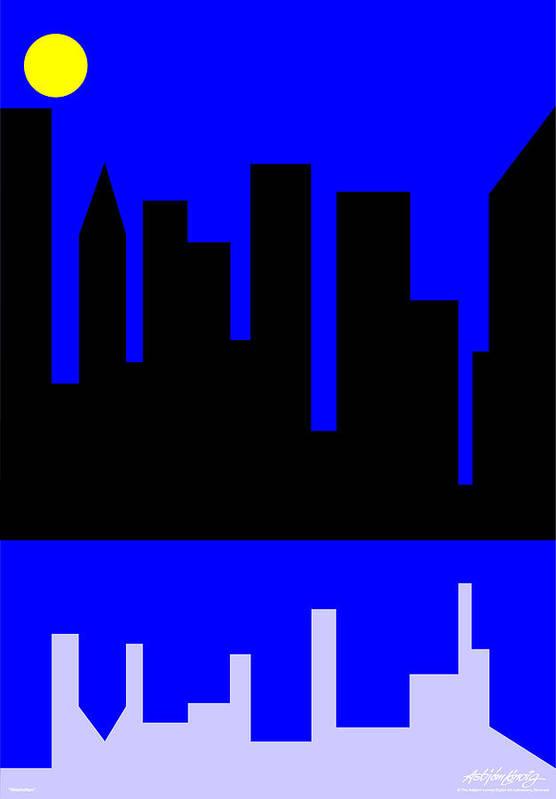 Manhattan Art Print featuring the digital art Manhattan by Asbjorn Lonvig