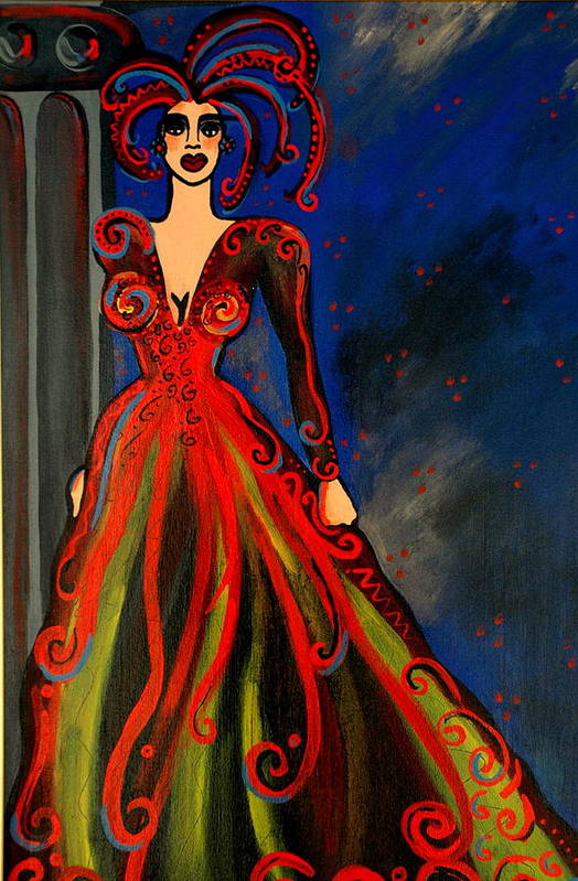 Couture Artwork Art Print featuring the painting Mardi Gras by Helen Gerro