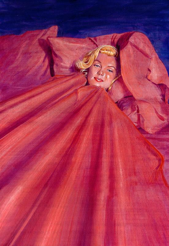 Marilyn Monroe Art Print featuring the painting Marilyn In Bed by Ken Meyer jr