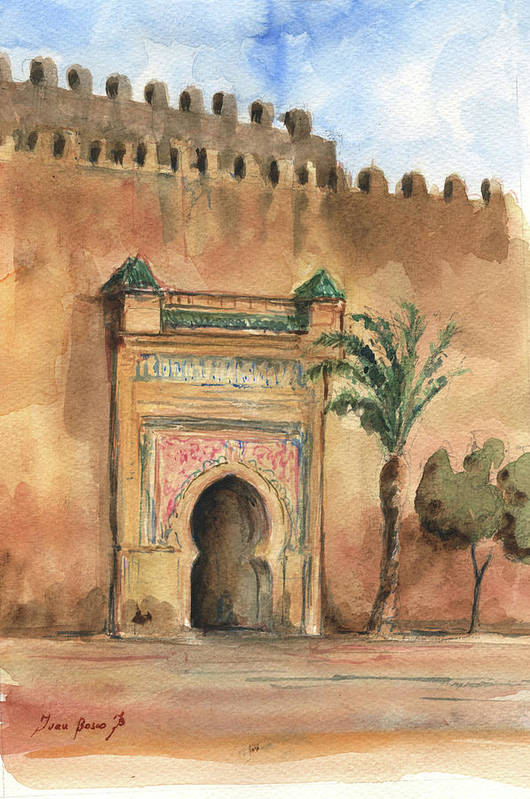 Morocco Art Art Print featuring the painting Medina Morocco, by Juan Bosco