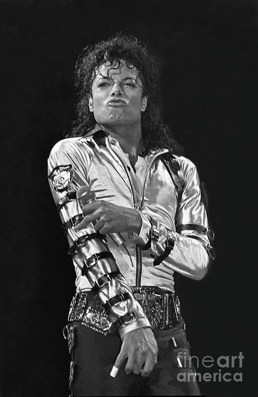 Music Legend Michael Jackson Is Shown Performing On Stage During A Live Concert Appearance Art Print featuring the photograph Michael Jackson - The King of Pop by Concert Photos