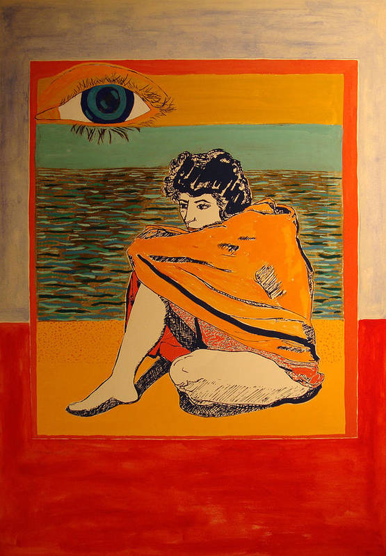 Art Print featuring the painting Model with blanket colored by Biagio Civale