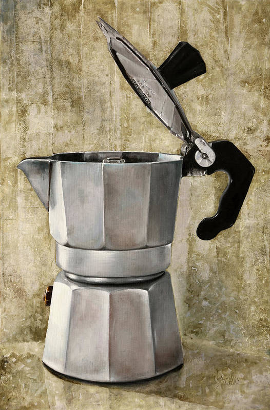Cofeescape Art Print featuring the painting Moka by Guido Borelli