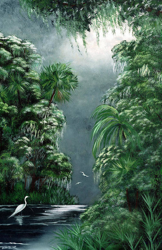 Swamp Art Print featuring the painting Moonlight Swamp by Darlene Green