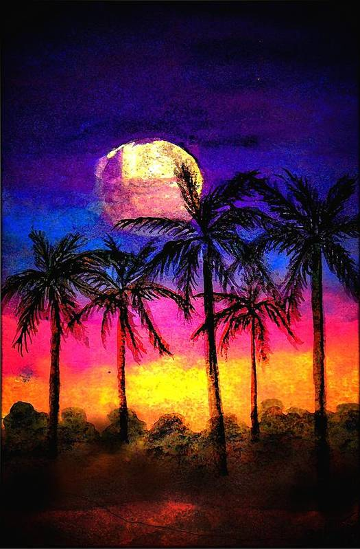 Silhouette Art Print featuring the painting Moonrise Over the Tropics by Dina Sierra