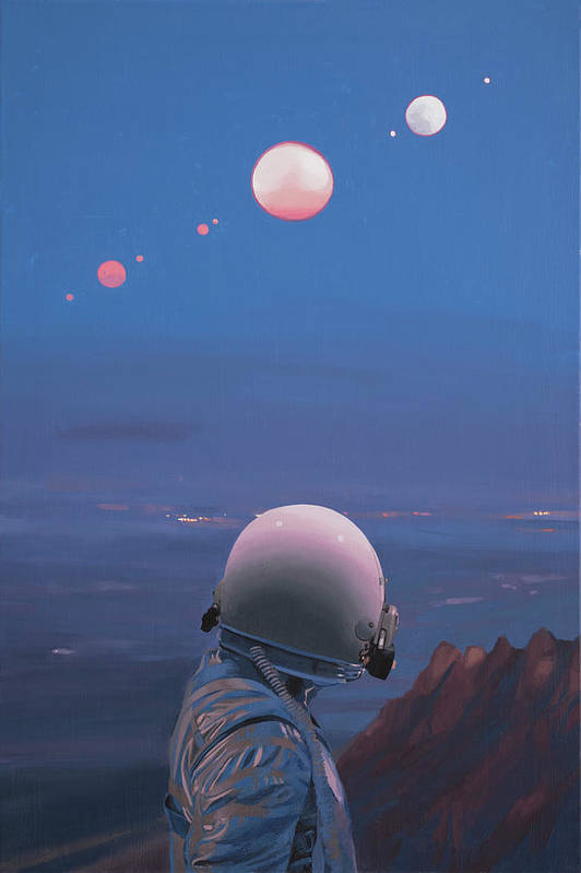 Astronaut Art Print featuring the painting Moons by Scott Listfield