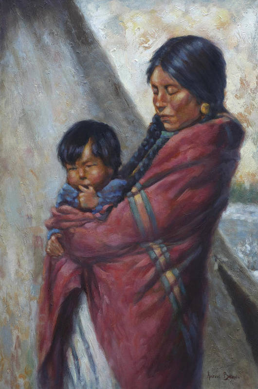 Native American Art Print featuring the painting Motherhood by Harvie Brown