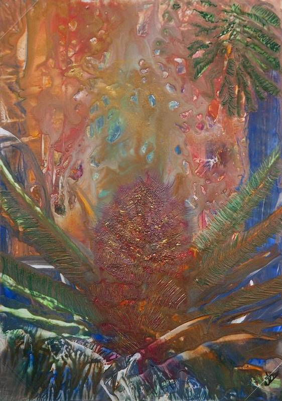 Floral Abstract Art Print featuring the painting Native by John Vandebrooke