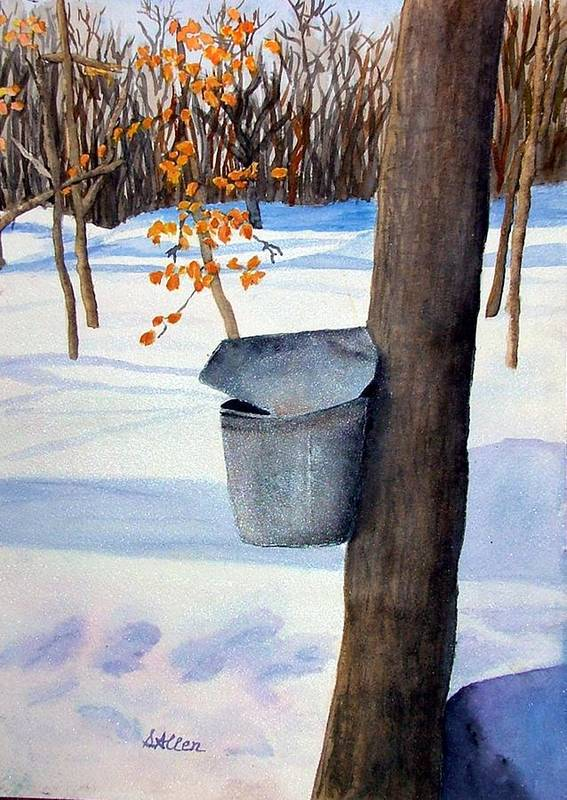 Sap Bucket. Maple Sugaring Art Print featuring the painting NH Goldmine by Sharon E Allen