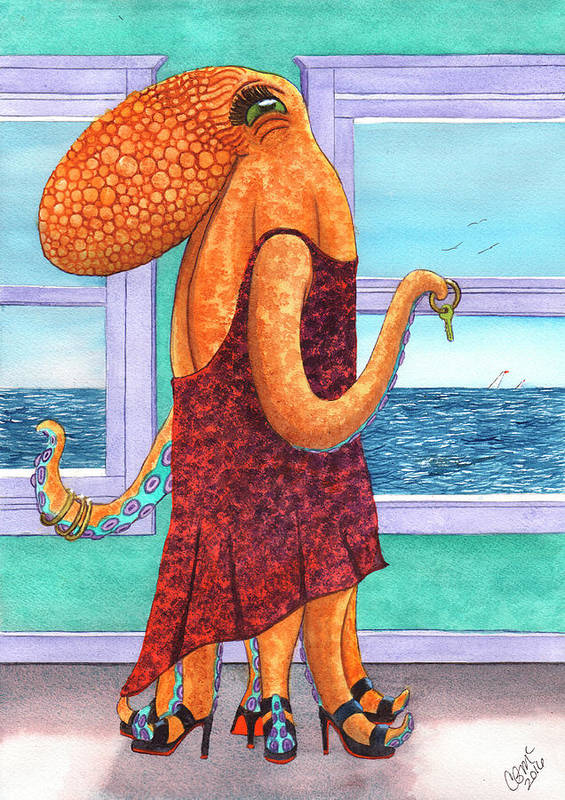 Octopus Art Print featuring the painting Octopus in a Cocktail Dress by Catherine G McElroy