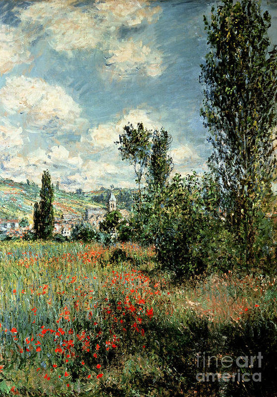 Path Art Print featuring the painting Path through the Poppies by Claude Monet
