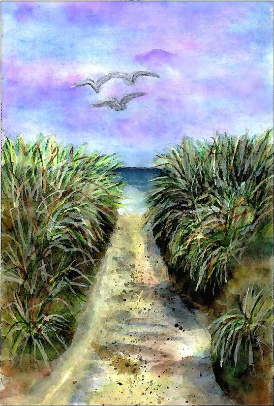 Beach Art Print featuring the painting Pathway To The Shore by Dina Sierra