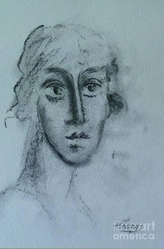 Woman Art Print featuring the drawing Perceptive by Ushangi Kumelashvili