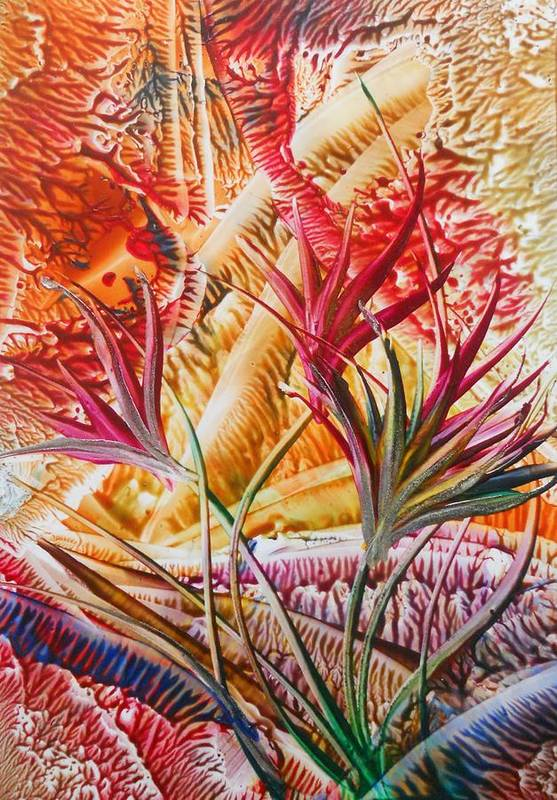 Floral Abstract Art Print featuring the painting Perky by John Vandebrooke