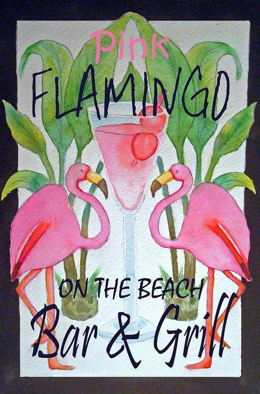 Pink. Flamingo Art Print featuring the painting Pink Flamingos On The Beach Bar and Grill by Kerra Lindsey