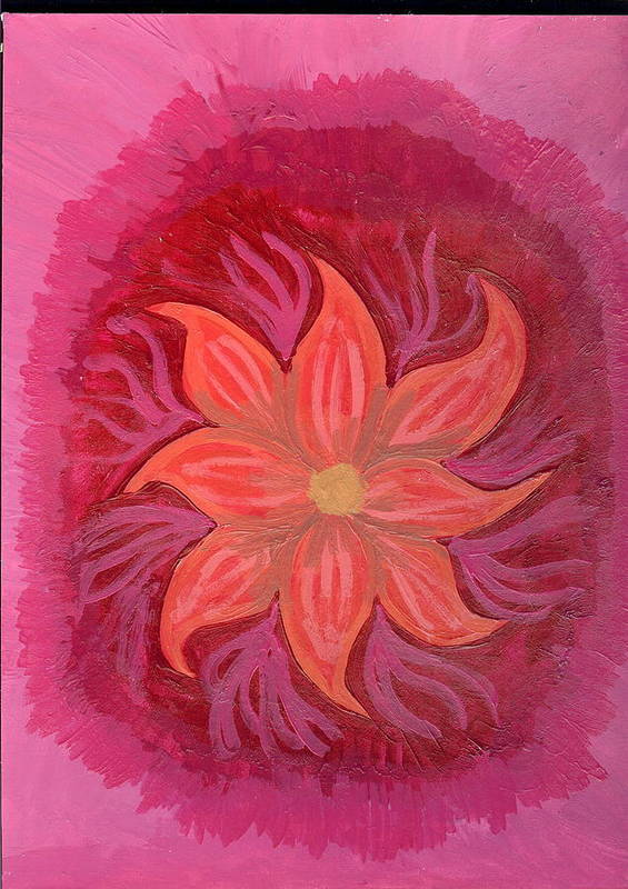 Flower Art Print featuring the painting Pink Fusion by Laura Lillo