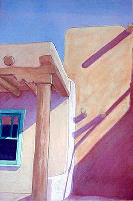 Pueblos Art Print featuring the pastel Pueblo Shadows by Jo Thompson
