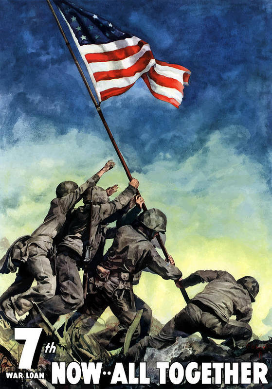 Iwo Jima Art Print featuring the painting Raising The Flag On Iwo Jima by War Is Hell Store