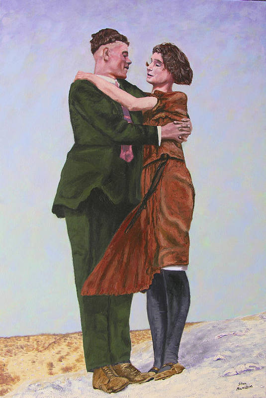 Double Portrait Art Print featuring the painting Ray and Isabel by Stan Hamilton