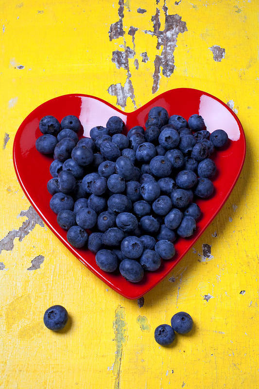 Red Heart Shaped Plate Art Print featuring the photograph Red heart plate with blueberries by Garry Gay