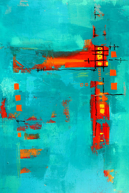 Turquoise Abstract Art Print featuring the painting Rusty by Nancy Merkle