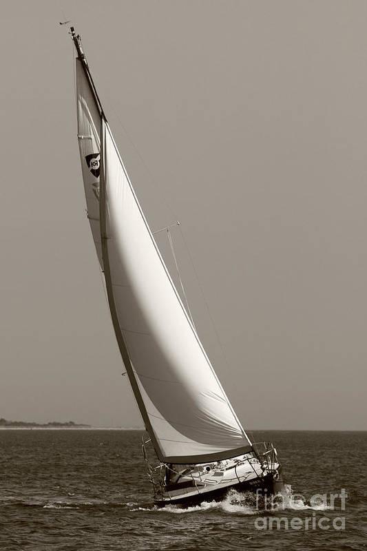 Sailboat Art Print featuring the photograph Sailing Sailboat Sloop Beating To Windward by Dustin K Ryan