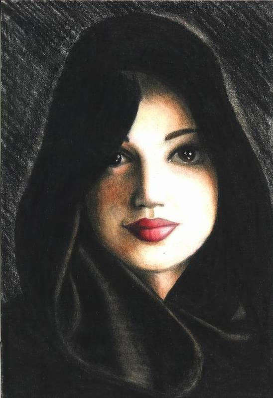 Portrait Art Print featuring the drawing Self Portrait in Cape by Scarlett Royal